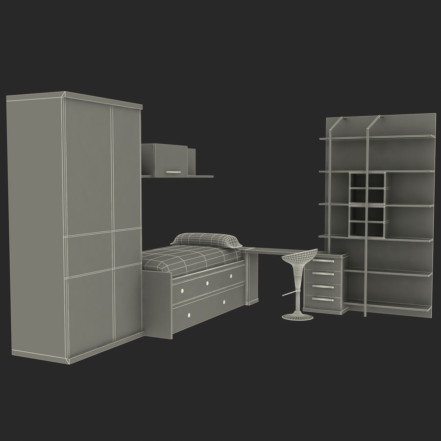 Kids Bedroom Furniture royalty-free 3d model - Preview no. 15