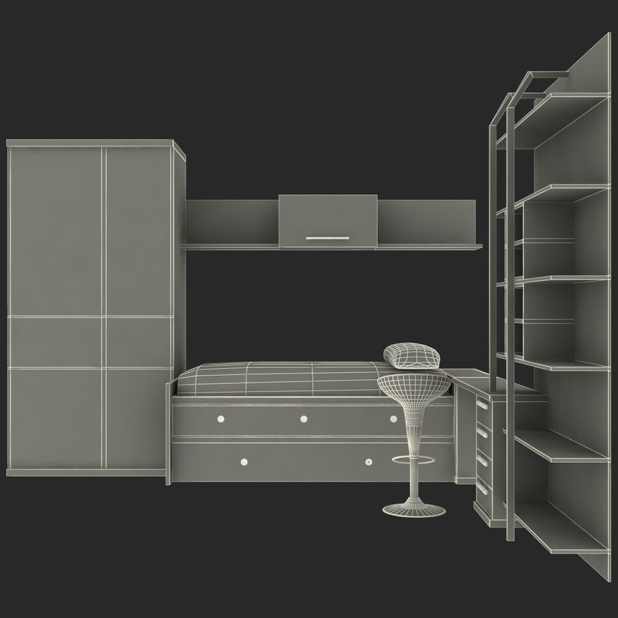 Kids Bedroom Furniture royalty-free 3d model - Preview no. 17