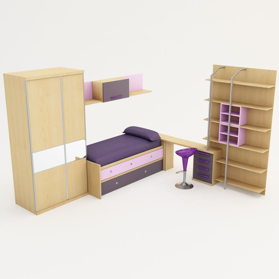 Kids Bedroom Furniture royalty-free 3d model - Preview no. 4