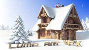 Log Cabin Christmas Cartoon Scene 3d model