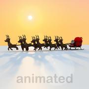 Animación de trineo de Santa modelo 3d