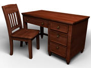 Bureau en bois 3d model