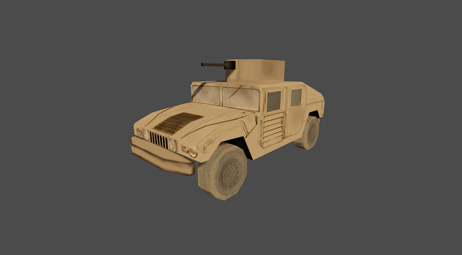 Humvee jeep lowpoly royalty-free modelo 3d - Preview no. 2