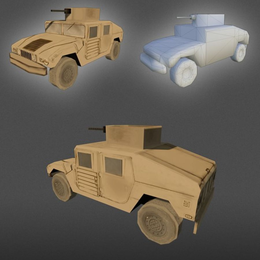 Humvee jeep lowpoly royalty-free modelo 3d - Preview no. 1