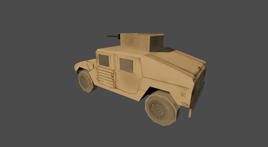 Humvee jeep lowpoly royalty-free modelo 3d - Preview no. 3