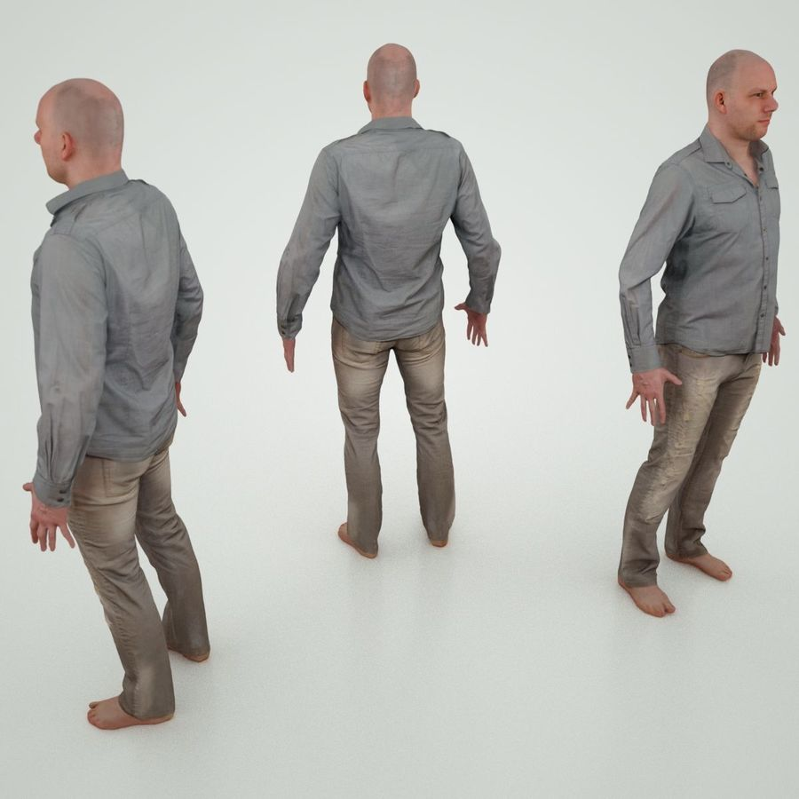 Jeans mit männlichem Charakter royalty-free 3d model - Preview no. 3