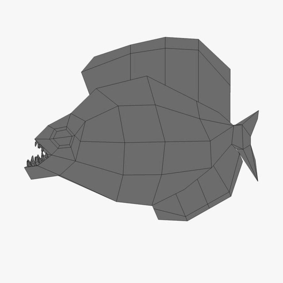 Low poly piranha royalty-free 3d model - Preview no. 6