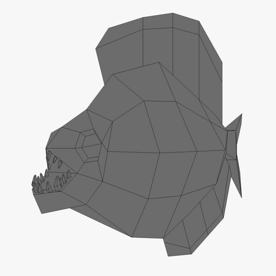 Low poly piranha royalty-free 3d model - Preview no. 7