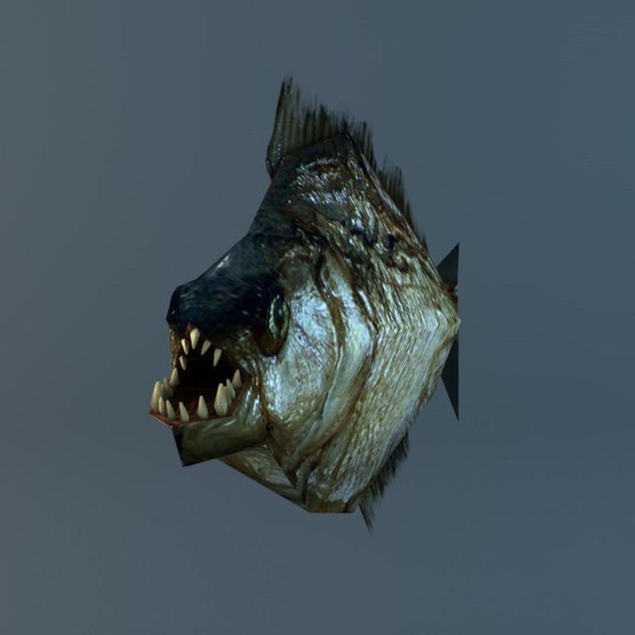 Low poly piranha royalty-free 3d model - Preview no. 4