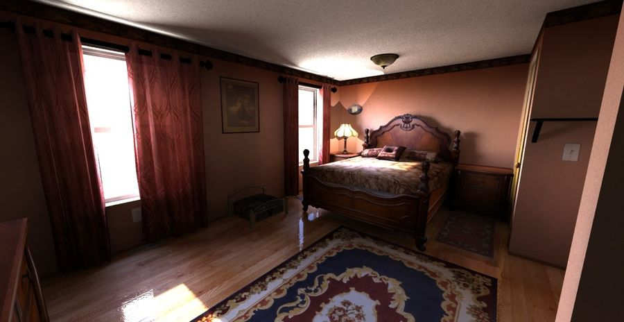 Quarto com modelo EXTRA GRATUITO royalty-free 3d model - Preview no. 2
