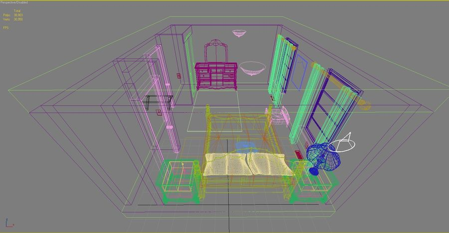 Quarto com modelo EXTRA GRATUITO royalty-free 3d model - Preview no. 8