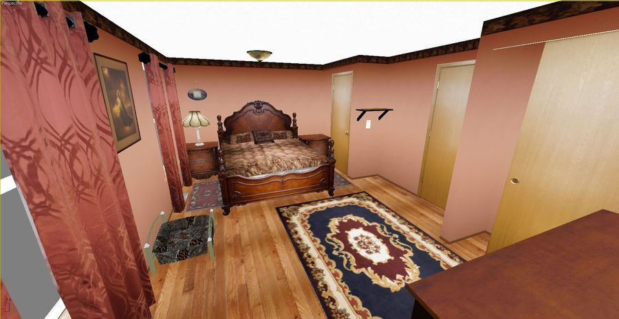 Quarto com modelo EXTRA GRATUITO royalty-free 3d model - Preview no. 4