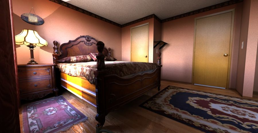 Quarto com modelo EXTRA GRATUITO royalty-free 3d model - Preview no. 3