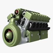 Motor abstracto V12 modelo 3d