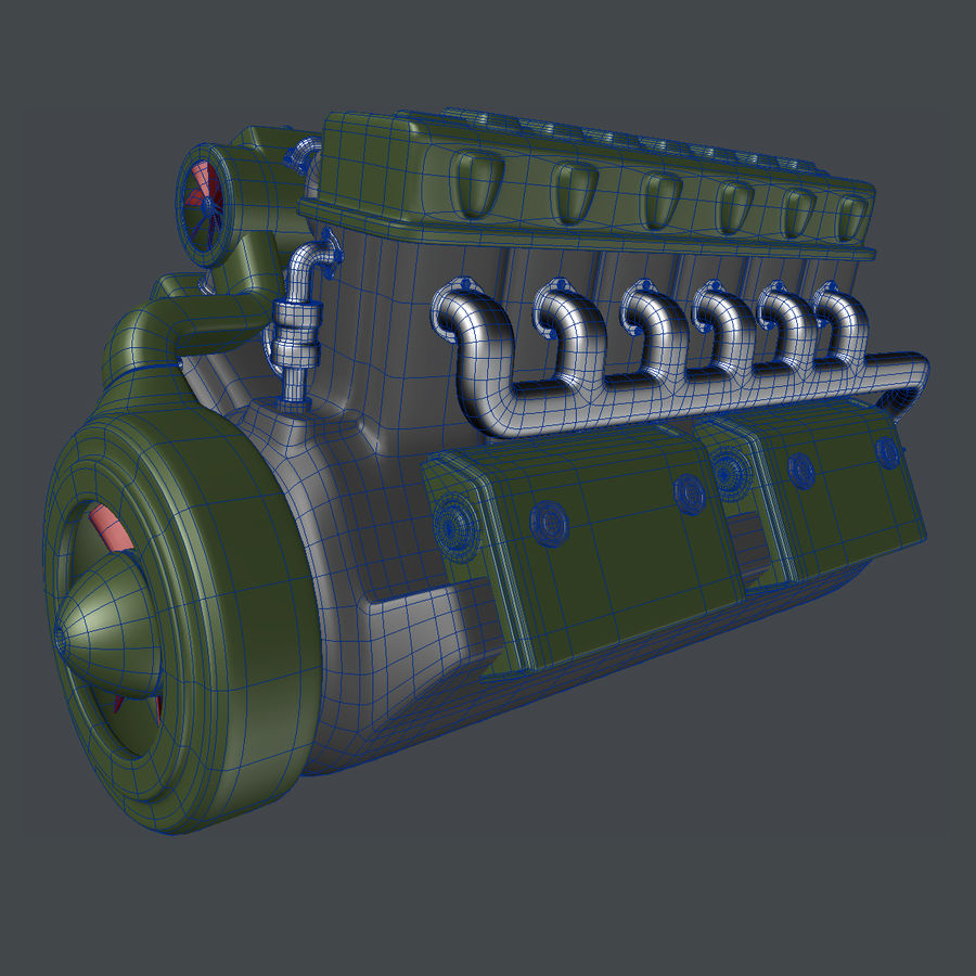 Abstract V12 Engine royalty-free 3d model - Preview no. 6