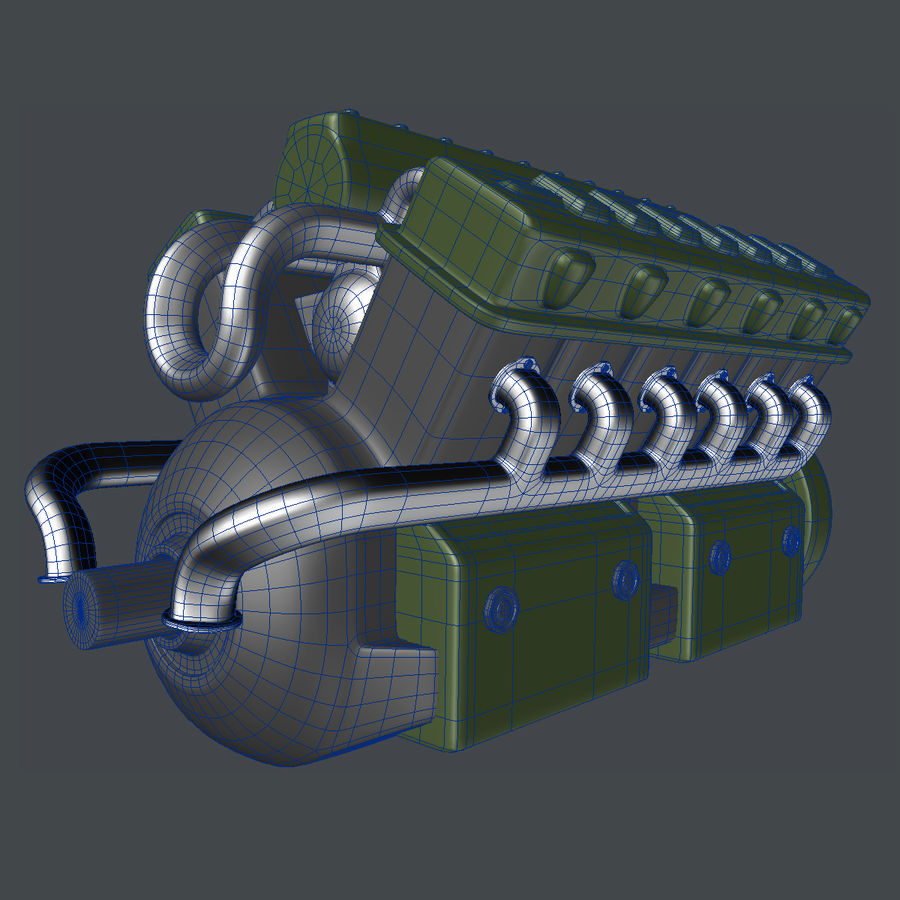 Abstract V12 Engine royalty-free 3d model - Preview no. 7
