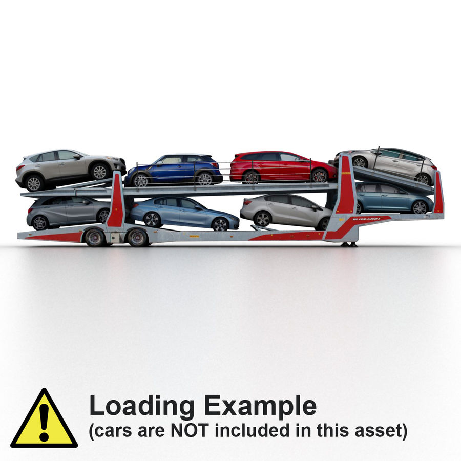 拖车汽车运输车 royalty-free 3d model - Preview no. 8