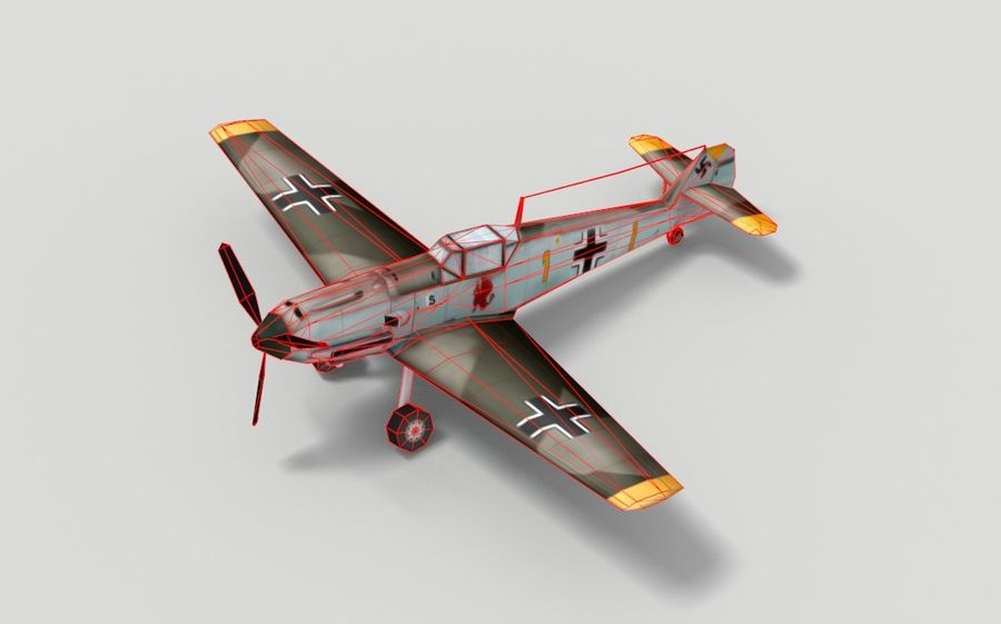 メッサーシュミットBf 109 royalty-free 3d model - Preview no. 5