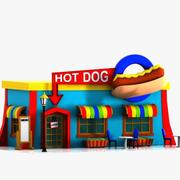 Restaurante de dibujos animados de perros calientes modelo 3d