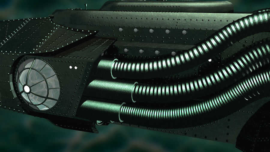 Submarino steampunk royalty-free 3d model - Preview no. 4