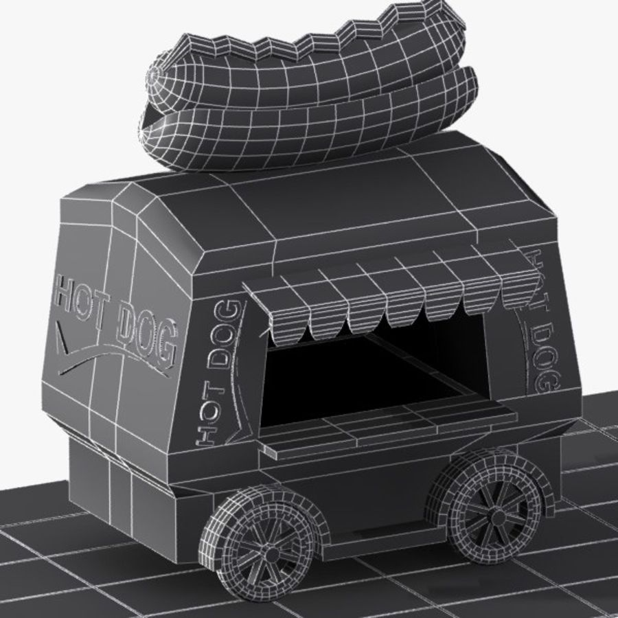 만화 핫도그 장바구니 royalty-free 3d model - Preview no. 8