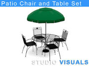 Patio Chair and Table Set 3d model