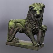 Lion Statue Mossy 3d model