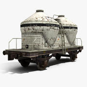 Wagon citerne de ciment 3d model