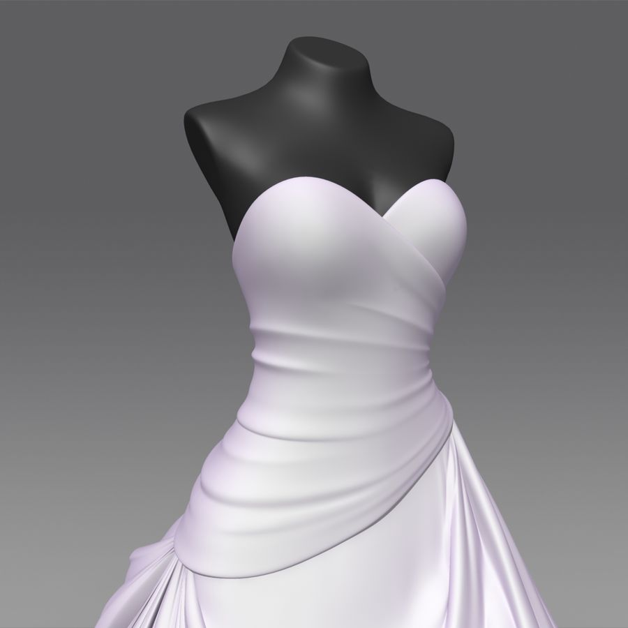 Vestido de casamento royalty-free 3d model - Preview no. 6