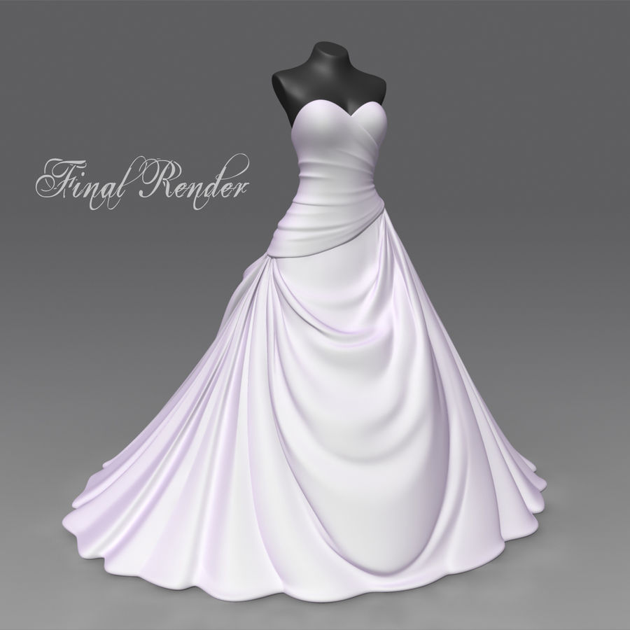 Vestido de casamento royalty-free 3d model - Preview no. 12