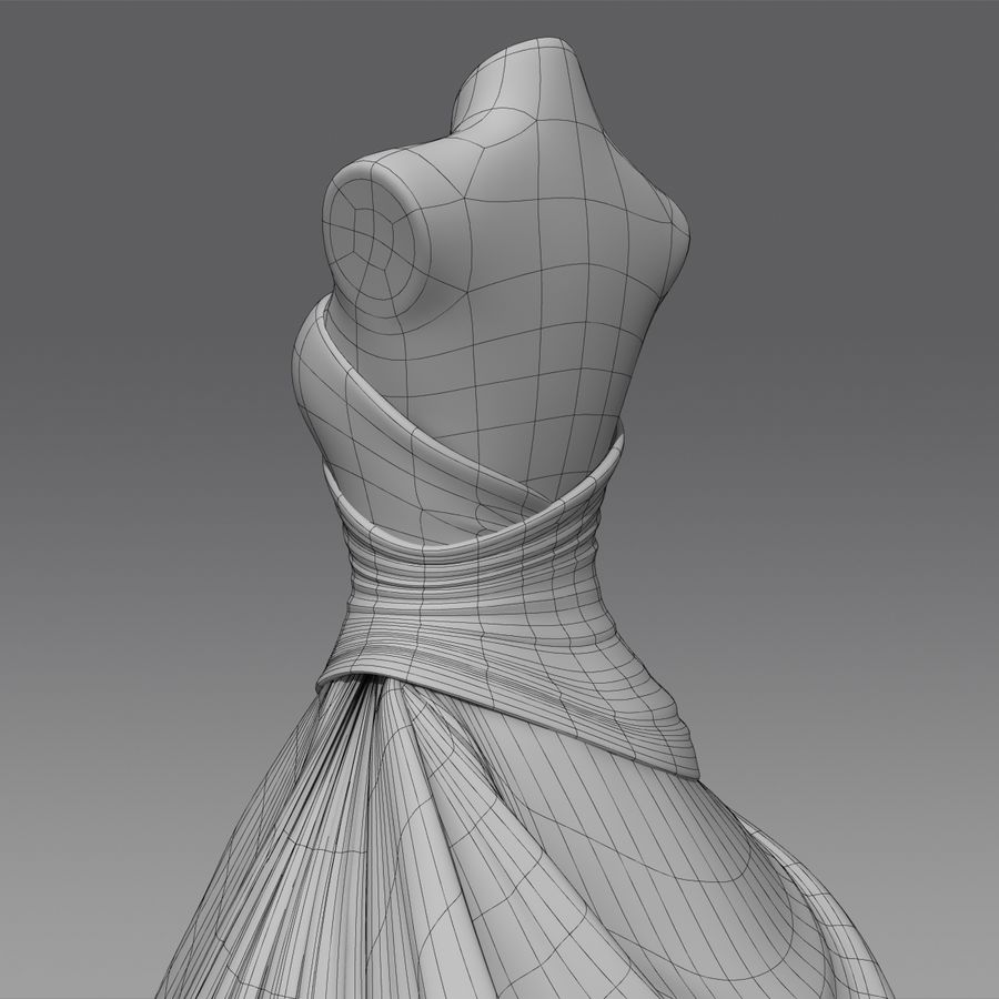 Vestido de casamento royalty-free 3d model - Preview no. 19