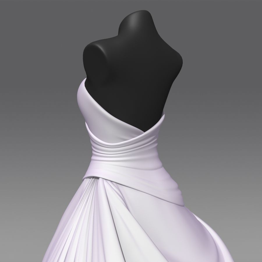 Vestido de casamento royalty-free 3d model - Preview no. 8