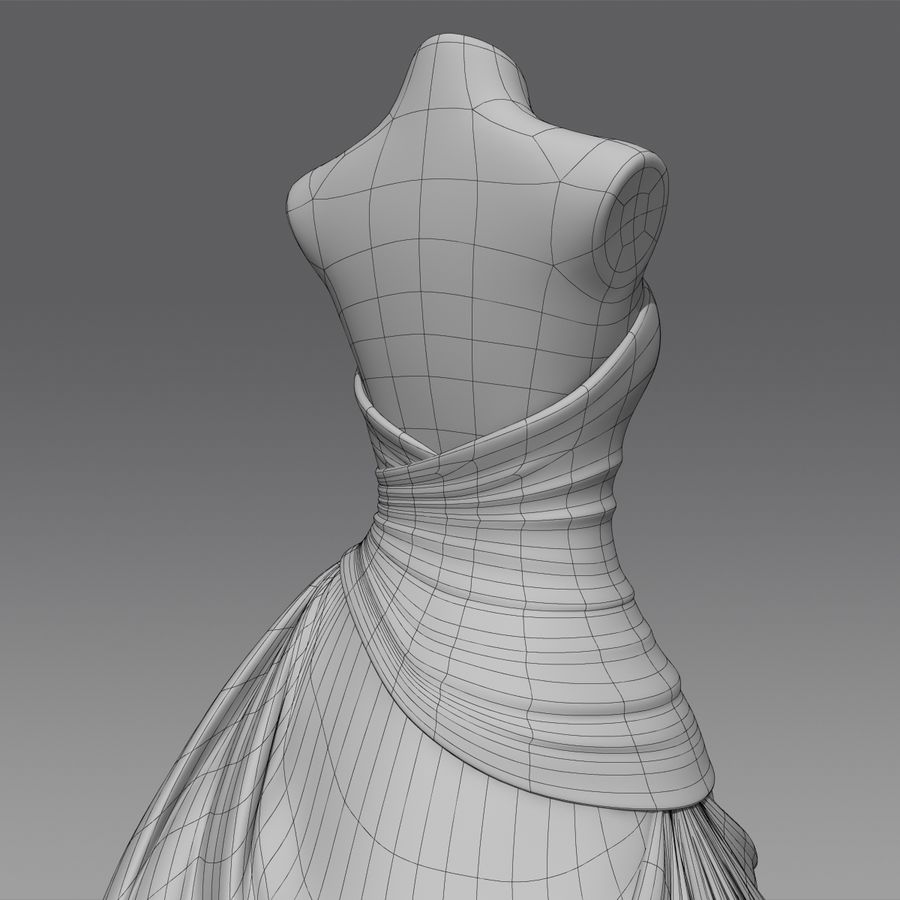 Vestido de casamento royalty-free 3d model - Preview no. 18