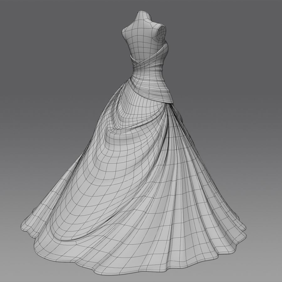 Vestido de casamento royalty-free 3d model - Preview no. 15
