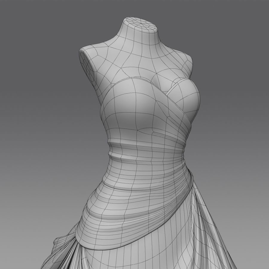 Vestido de casamento royalty-free 3d model - Preview no. 17