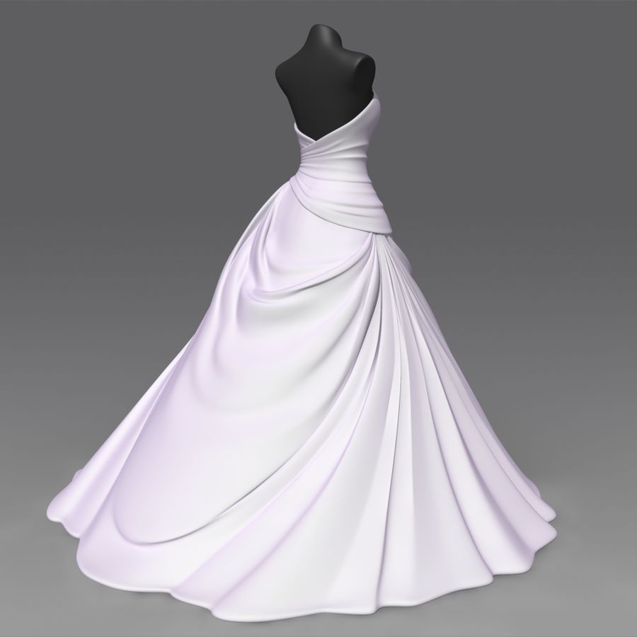Vestido de casamento royalty-free 3d model - Preview no. 3