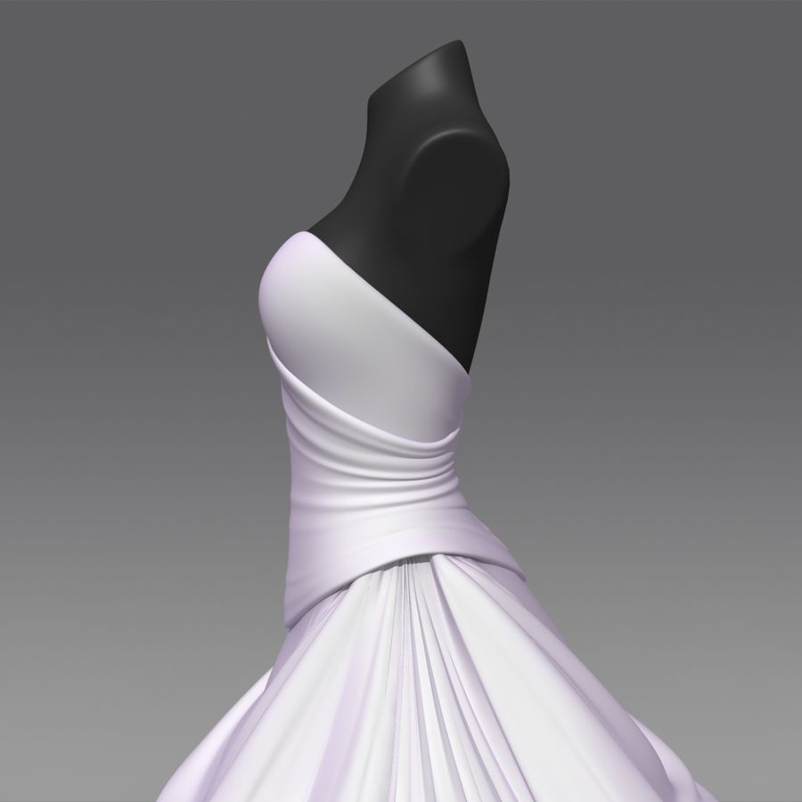 Vestido de casamento royalty-free 3d model - Preview no. 9