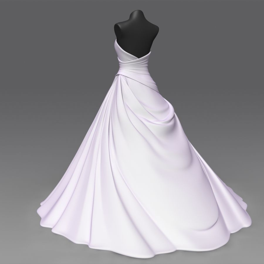 Vestido de casamento royalty-free 3d model - Preview no. 4