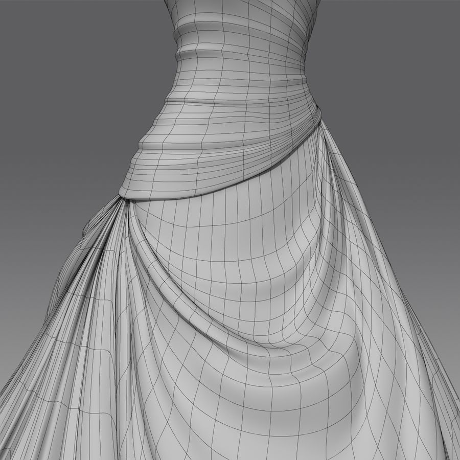 Vestido de casamento royalty-free 3d model - Preview no. 22