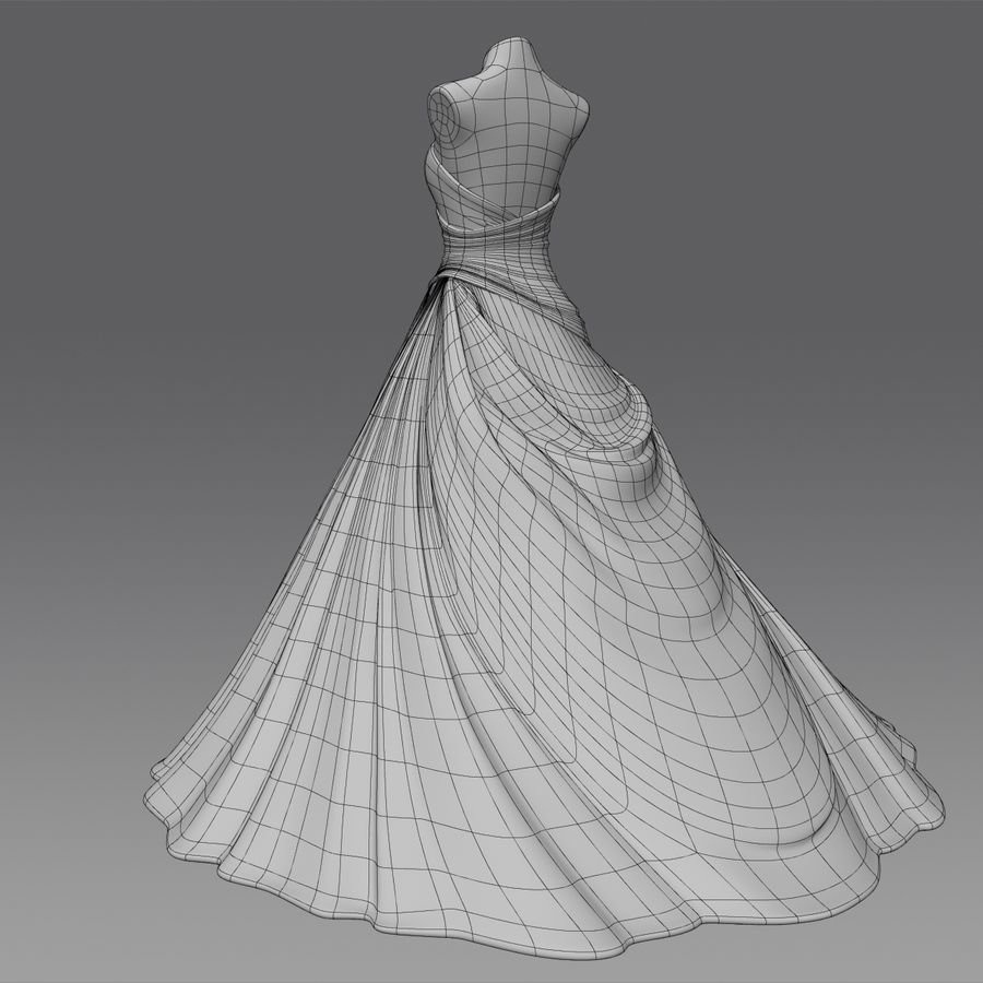Vestido de casamento royalty-free 3d model - Preview no. 16