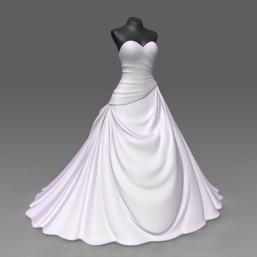 Vestido de casamento royalty-free 3d model - Preview no. 2