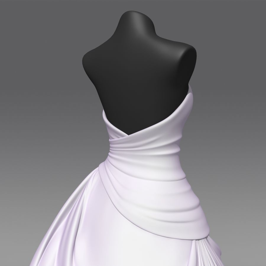 Vestido de casamento royalty-free 3d model - Preview no. 7