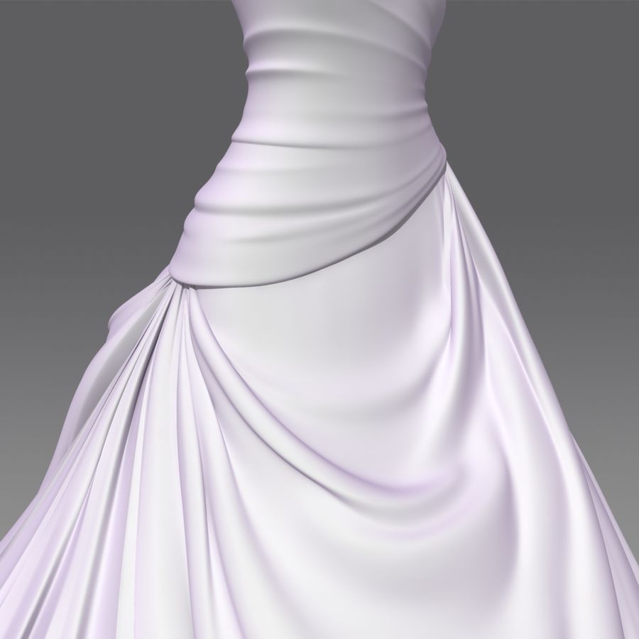 Vestido de casamento royalty-free 3d model - Preview no. 11