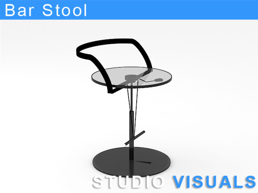 Barstol (glas) royalty-free 3d model - Preview no. 1
