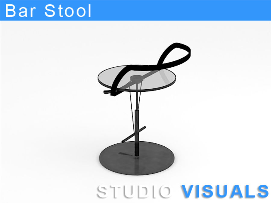 Barstol (glas) royalty-free 3d model - Preview no. 3
