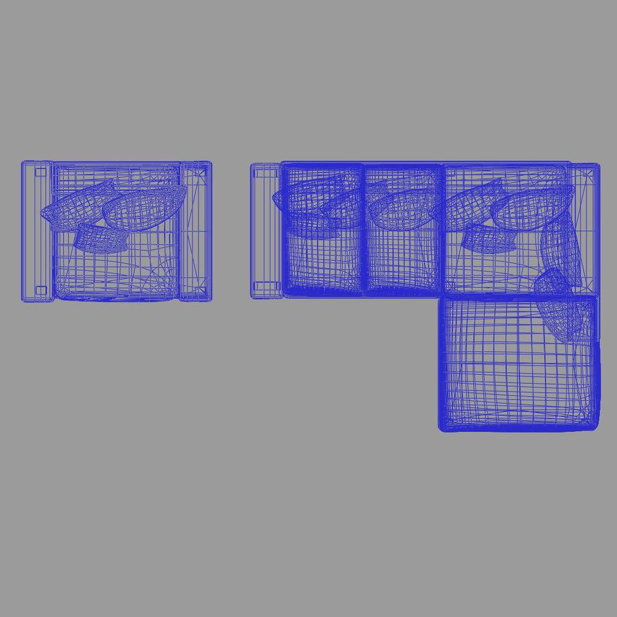 Divano e poltrona royalty-free 3d model - Preview no. 7