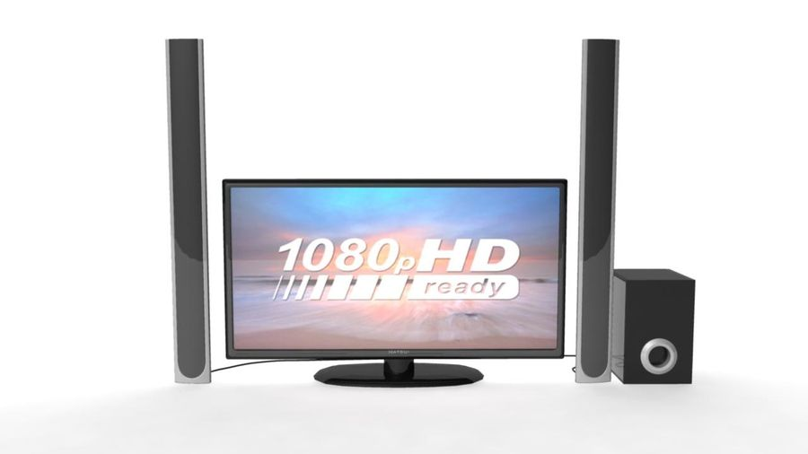 Wide Screen TV with Surround Sound System royalty-free 3d model - Preview no. 4
