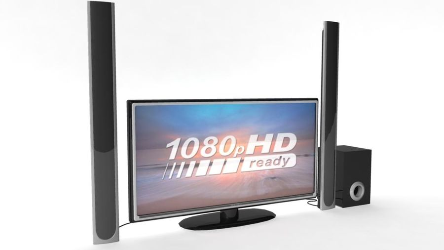 Wide Screen TV with Surround Sound System royalty-free 3d model - Preview no. 1