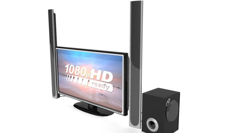 Wide Screen TV with Surround Sound System royalty-free 3d model - Preview no. 2