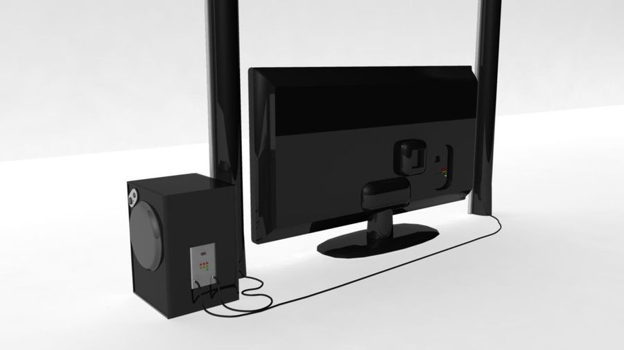 Wide Screen TV with Surround Sound System royalty-free 3d model - Preview no. 3